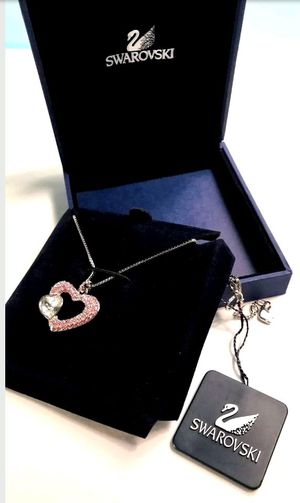 AUTHENTIC SWAN SIGNED SWAROVSKIDouble Heart Pendant Necklace 959316
