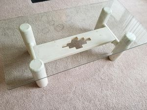 Rectangular glass top table with white wooden Base