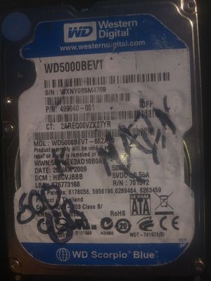 """WD 500GB 2.5"""" WD5000BEVT Sata Laptop HDD"""