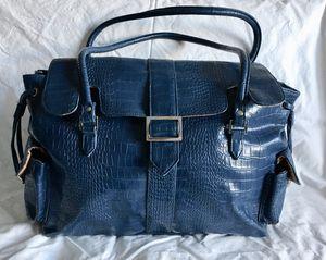 "Azure Blue Jordana Paige ""Rio"" Faux Leather Shoulder Bag/Purse/Knitting Bag"