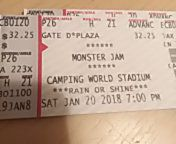 Two Monster Jam tickets