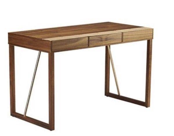 CB2 Leather Trim Storage Desk