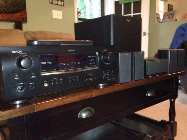 klipsch surround sound speakers. denon avr-1508 receiver and full set of klipsch surround sound speakers 2