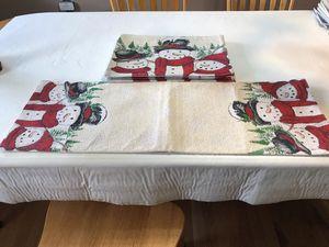 Snowman table runner matching placemats (6)