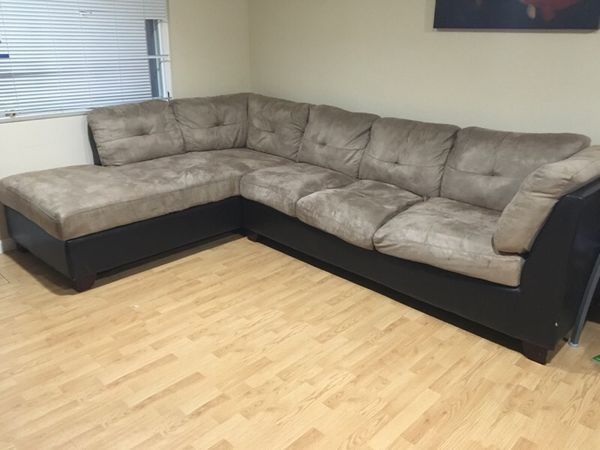 Two tone microfiber 2 piece sectional furniture in for Sofa bed 8101