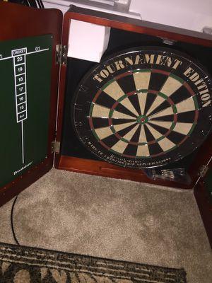 Dartboard and chalkboard cabinet