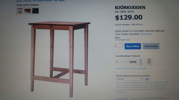 Bjorkudden bar table brand new furniture in for Furniture edmonds wa