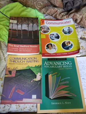 College books for English and Communication.