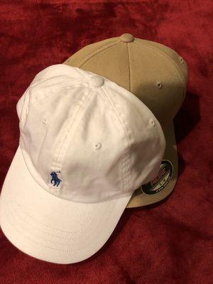 White Polo Strapback & Khaki Hat