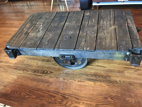 Lineberry cart vintage antique coffee table rail car NCarolina