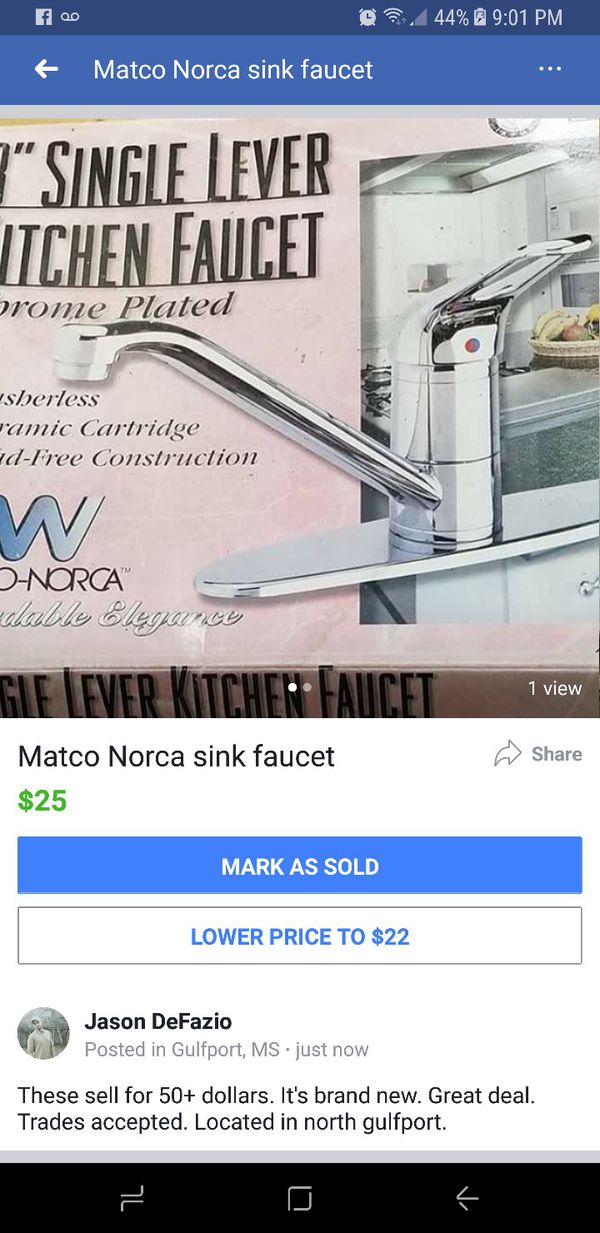 Matco norca sink faucet (Household) in Gulfport, MS
