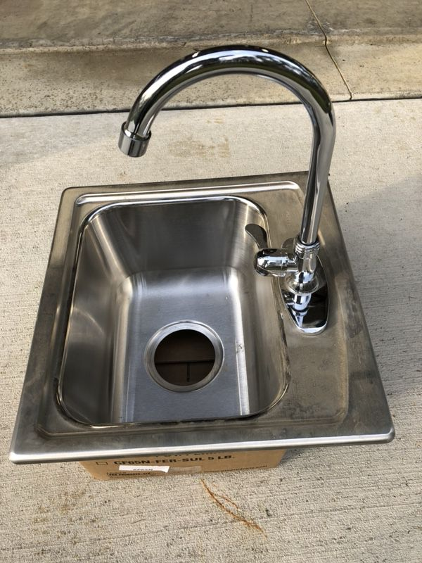 Stainless steel sink with faucet for RV, camping, or garden ...