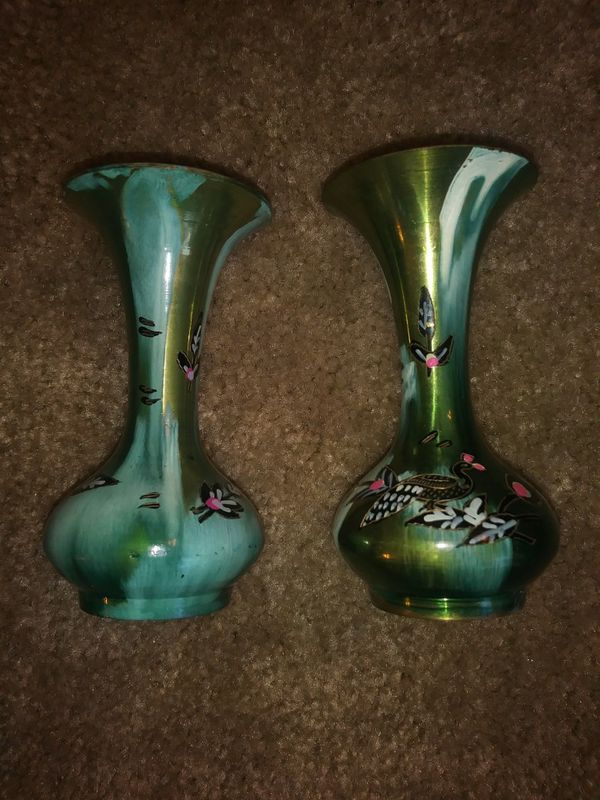 Small Metal Asian Painted Vases Antiques In Perris Ca Offerup
