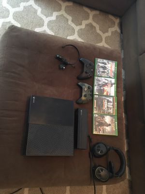 XBox One with games, controllers, turtle beach headset