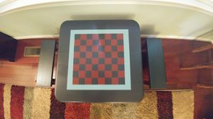 Wooden Hand Painted Checker Board Table & Benches