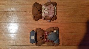 Set of ceramic teddy bear plaques