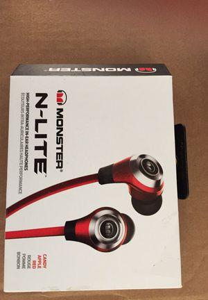 Monster N-lite earphone headphone Red