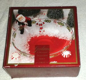Christmas Glass Candy Bowl w/Santa on Side NIB