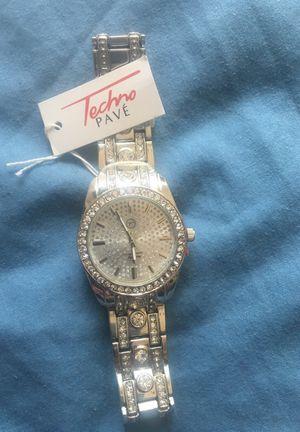 Techno Pave Silver Watch