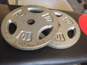 "2 x 10lbs standard 1"" hole plates, great for adding weight to your barbell or dumbbells."