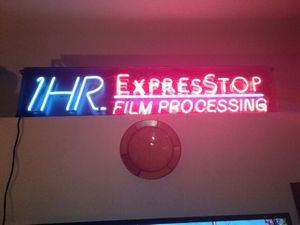 Huge neon sign 1 hour Express Stop film processing great for decoration