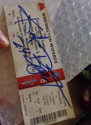 Autograph ticket of Kobe Bryant last game at Verizon Center