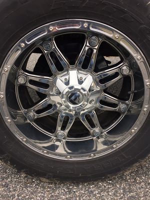(4) 20x12 chrome fuel hostages with like new 35s