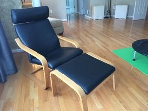 Genuine Leather IKEA chair with Ottoman