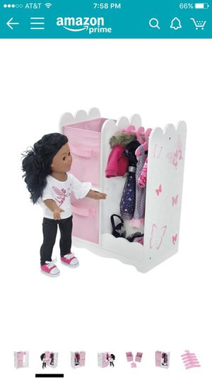 """Brand new Bed w/ trundle & Wardrobe Closet for 18"""" dolls"""