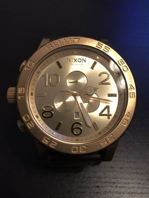 Nixon Chrono 51-30 All Gold Watch with leather band new