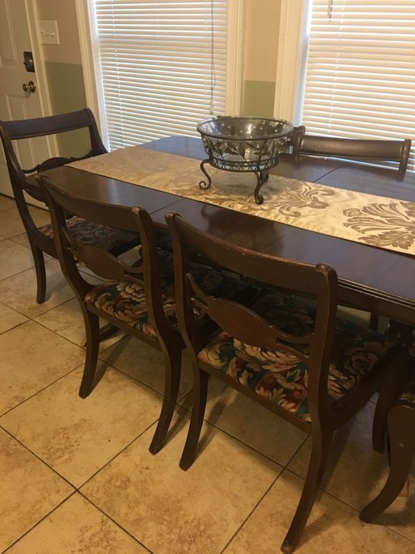 Antique Dining Room Table 6 Chairs