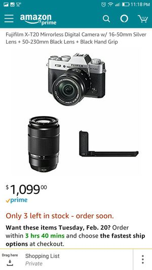 Fujifilm xt20 camera with fujinon xf35mmf1.4 R