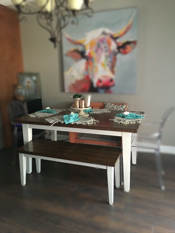 Pier One Farmhouse Style Dining Table Bench Matching Side