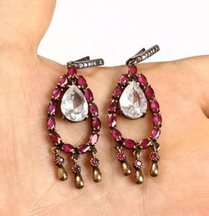 925 Sterling Silver, Handmade Turkish Ruby Topaz, Earrings