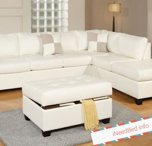 White Leather Sectional set with Ottoman $899.99 or as low as 32.20 per week... please visit iNeedBed.info for more details
