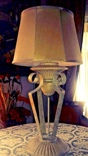 New and used lamp shades for sale in gilbert az offerup very elegant vintage style neutral heavy forged metal sandstone painted floor mozeypictures Images