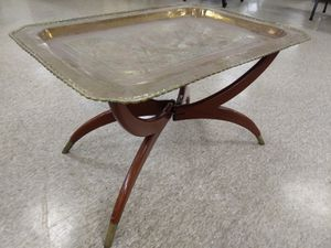 Oriental wooden coffee table with removable brass serving tray