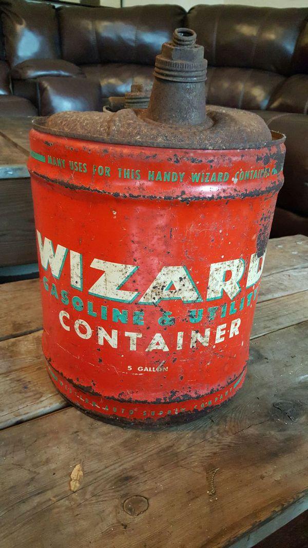vintage gas can. vintage wizard 5 gallon gas can