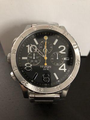 Nixon Chrono 48-20 Silver and Black Watch New