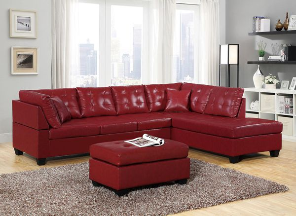 Brand New Red Faux Leather Sectional Sofa + Ottoman