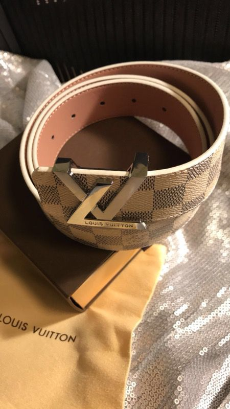 "White Louis Vuitton Belt (32-34"")"