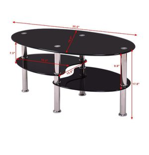 Costway Tempered Glass Oval Side Coffee Table