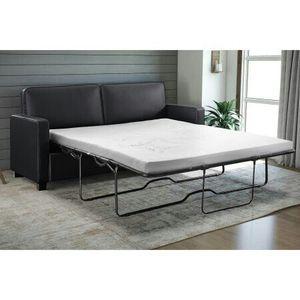Siganture Sleep Casey Sleeper Sofa, Black Faux Leather, QUEEN Size