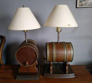 VTG Wood Whiskey Barrel Lamps
