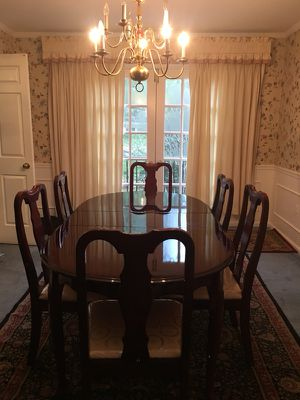 Dining table with six side chairs