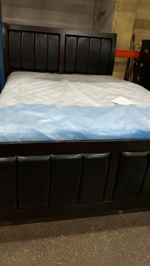 Brand New Queen Size Leather/Wood Bed Frame ONLY