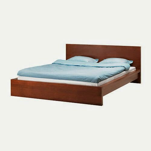 Brown low queen MALM bed frame slats optional mattress