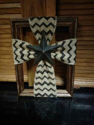 """Burlap cross with tin star on 5"""" x 7"""" frame"""