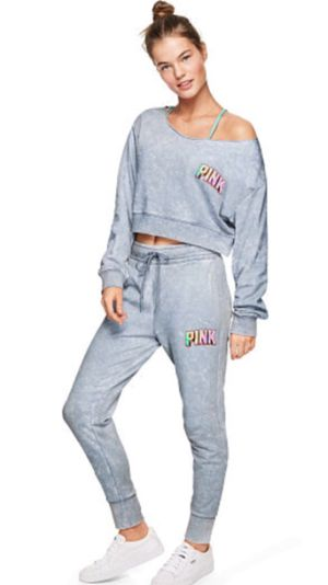 Victoria's Secret Pink Cropped Sweatsuit XS/S Retail $110