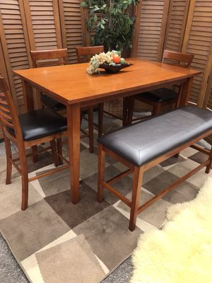 Beautiful Brown Wooden Dining Table Set